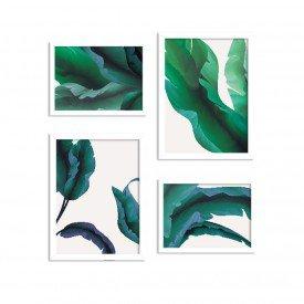 Conjunto de 4 Quadros Decorativos Premium Folhas Natureza Verde Abstrata