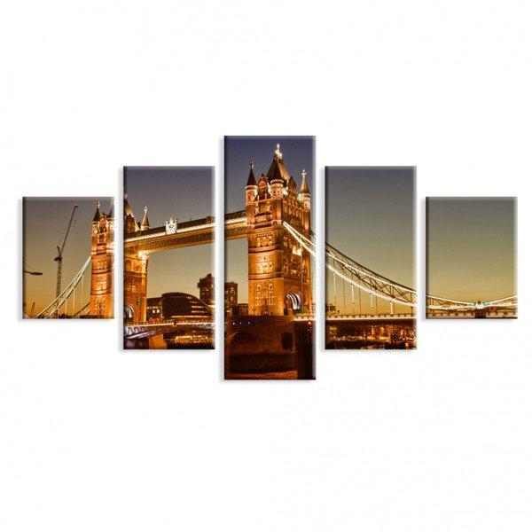 Kit 5 Telas em Canvas Decorativa Ponte Noite Iluminada