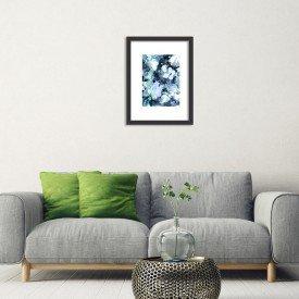 Quadro Decorativo Azul Abstrato Branco