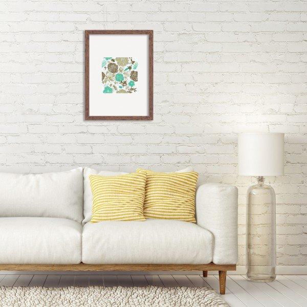 Quadro Decorativo Floral Verde Mesclado com Fundo Branco