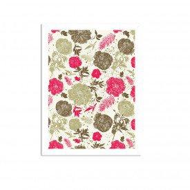 Quadro Decorativo Floral Rosa Branco