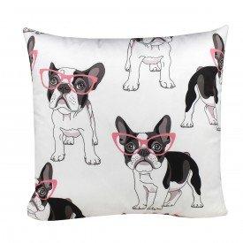 Almofada Decorativa Fun Cachorros com Óculos Rosa