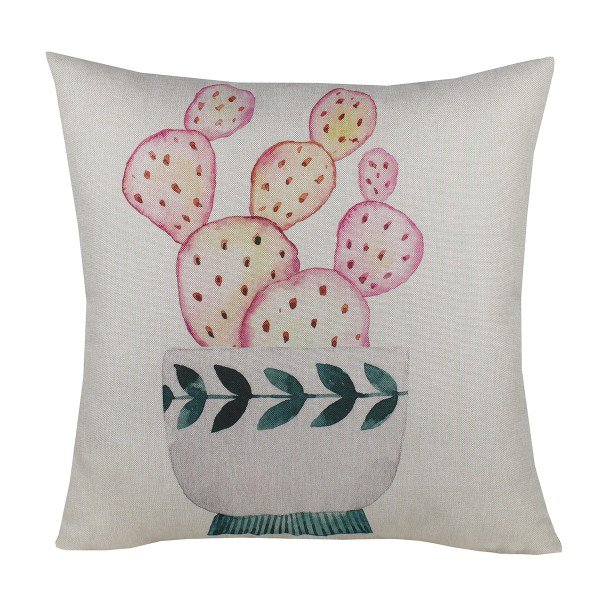 Almofada Decorativa Premium Amazonas Cacto Pintado Rosa
