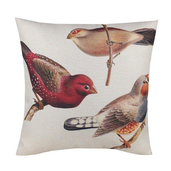 Almofada Decorativa Premium Amazonas Pássaros Bico de Lacre