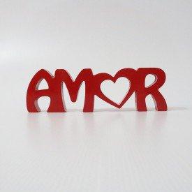 Letreiro em MDF Amor Vermelho 9,2x30 cm