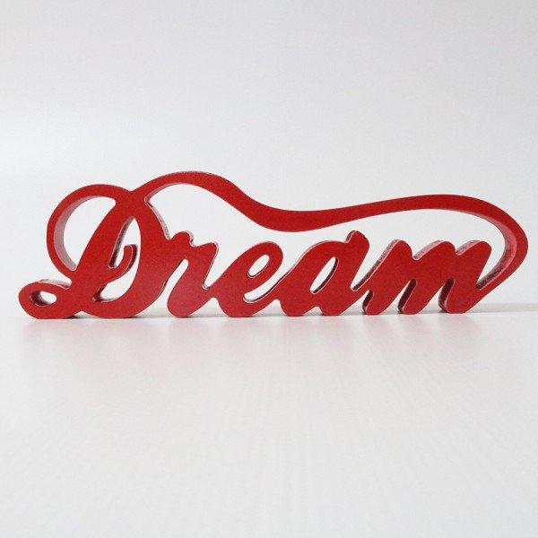 Letreiro em MDF Dream Vermelho 10,5x37,50 cm