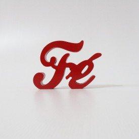 Letreiro em MDF Fé vermelho 16x12 cm