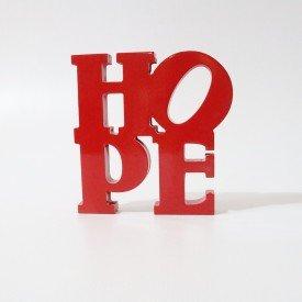 Letreiro em MDF Hope Vermelho 20x19,5 cm