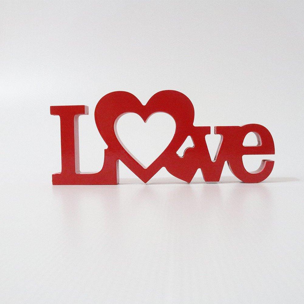 Letreiro em MDF Love Vermelho 12x28 cm