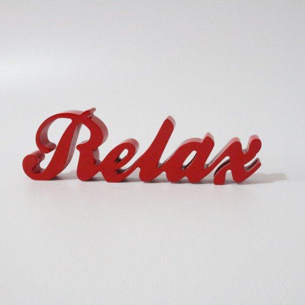 Letreiro MDF Relax Vermelho 10x32 cm