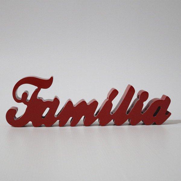 Letreiro MDF Família Vermelho - 9x30 cm