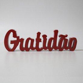 Letreiro MDF Gratidão Vermelho 10,6x35,5 cm