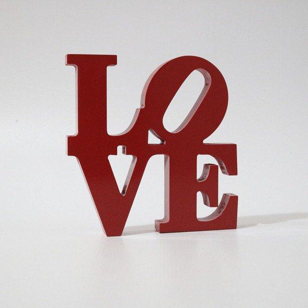 Letreiro MDF Love Vermelho 20x19,5 cm