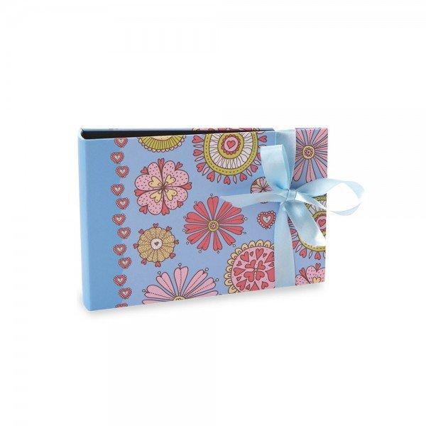 Álbum Gift Solda Floral com Laço Azul 60 Fotos 10X15