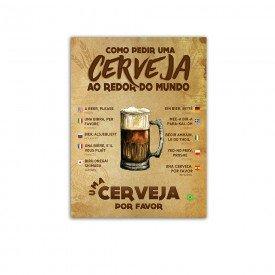 Placa Decorativa em MDF Como Pedir Cerveja 20x30