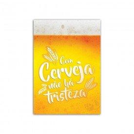 Placa Decorativa em MDF Com Cerveja Não há Tristeza 20x30