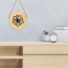 Quadro Hexagonal em Relevo Flor Decorativa