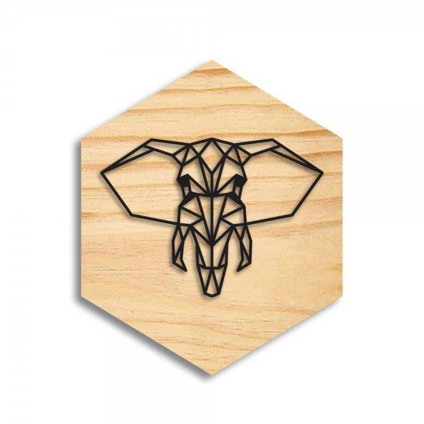 Quadro Hexagonal em Relevo Elefante