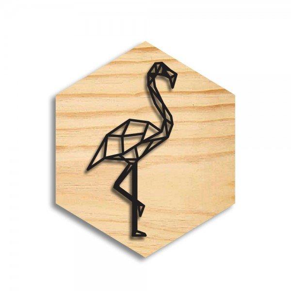 Quadro Hexagonal em Relevo Flamingo