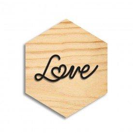 Quadro Hexagonal em Relevo Love