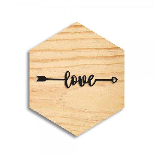 Quadro Hexagonal em Relevo Love Flecha