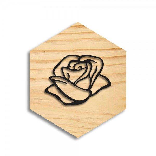 Quadro Hexagonal em Relevo Flor Rosa