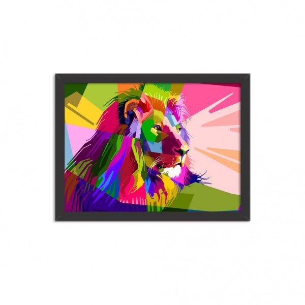 Quadro Decorativo Leão Geométrico Colorido
