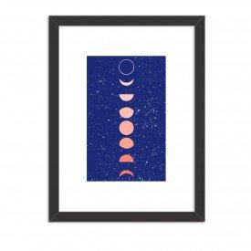 Quadro Decorativo Fases da Lua Azul