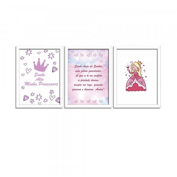 Kit 3 Quadros Decorativos Infantil Sonhe Alto Princesa
