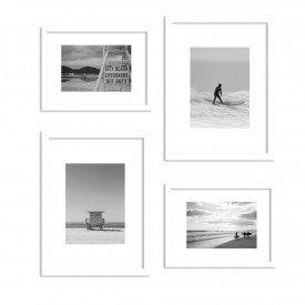 Conjunto de 4 Quadros Decorativos Premium Praia e Surf