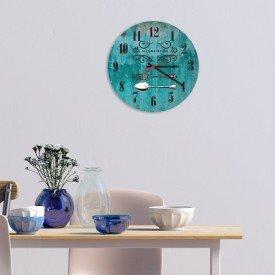 Relógio de Parede Decorativo Talheres Verde Pátina