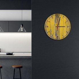 Relógio de Parede Decorativo Madeira Amarelo Pátina