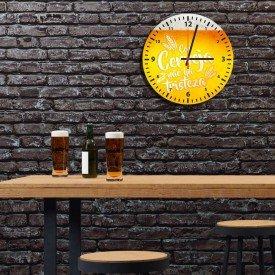 Relógio de Parede Decorativo Com Cerveja Não Há Tristeza