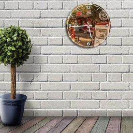 Relógio de Parede Decorativo Posto de Gasolina Retrô
