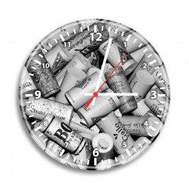 Relógio de Parede Decorativo Rolhas Preto e Branco