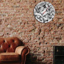 Relógio de Parede Decorativo Rolhas Preto e Branc