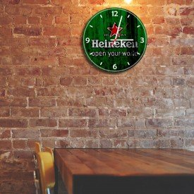 Relógio de Parede Decorativo Heineken Open Your World