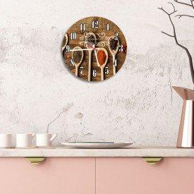 Relógio de Parede Decorativo Talheres e Temperos