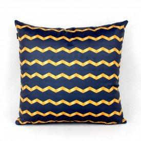 Almofada Decorativa Premium Chevron Azul e Dourado