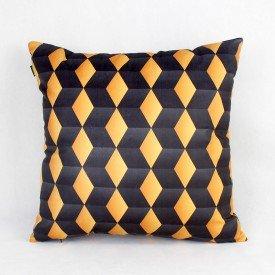 Almofada Decorativa Premium Geométrica Azul e Dourado