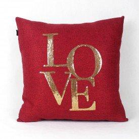 Almofada Decorativa Premium Requinte Love Vermelha e Dourada