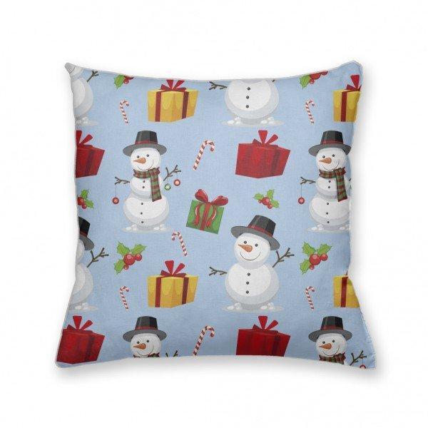 Almofada Decorativa Own Bonecos de Neve e Presentes Azul