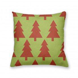 Almofada Decorativa Own Verde com Árvore de Natal Vermelha