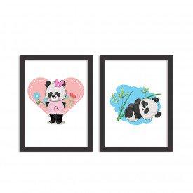 Kit 2 Quadros Decorativos Ursos Panda