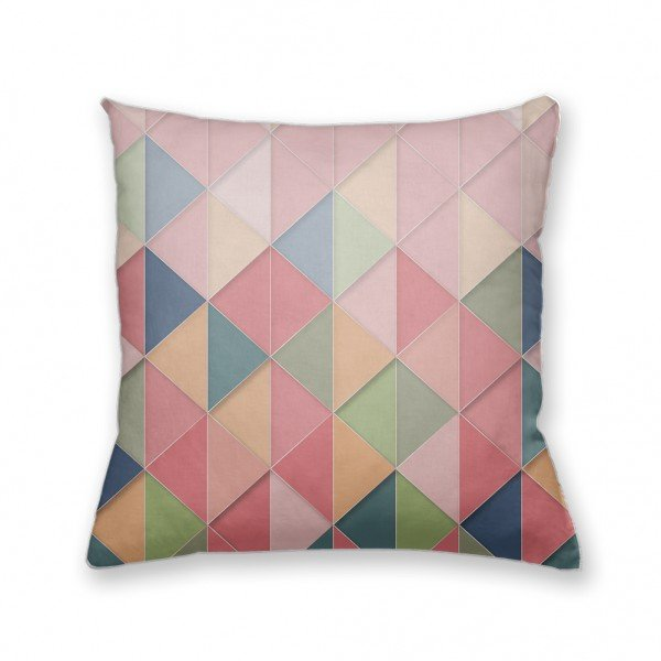 Almofada Decorativa Own Geométrica Triângulos Rosa