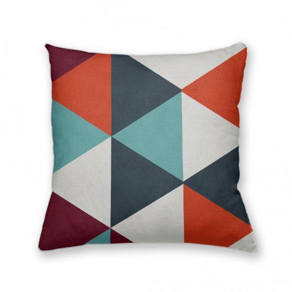 Almofada Decorativa Own Geométrica Triângulos Laranja e Azul
