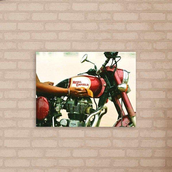 Placa Decorativa em MDF Moto Royal Enfield Vermelha