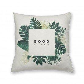 Almofada Decorativa Own Folhas Verdes Good Vibes