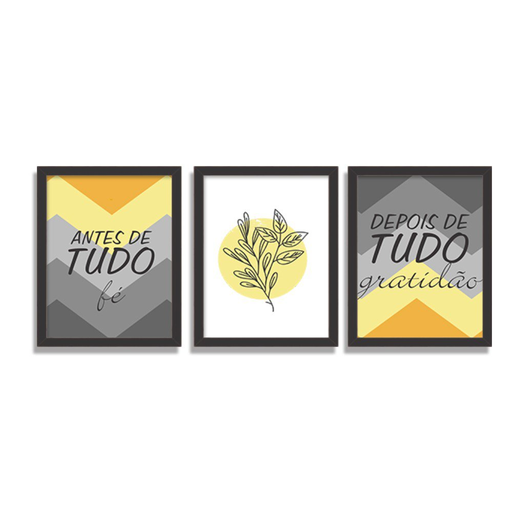 Kit 3 Quadros Decorativos Chevron Fé e Gratidão