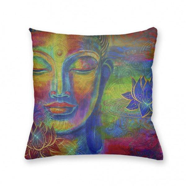 Almofada Decorativa Own Colorida Buda e Flor de Lótus